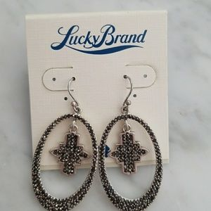 BNWT Lucky Brand marcasite hoop earrings